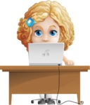 Little Blonde Girl with Curly Hair Cartoon Vector Character AKA Ella Sugarsweet - Laptop 3