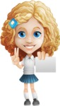 Little Blonde Girl with Curly Hair Cartoon Vector Character AKA Ella Sugarsweet - Sign 6