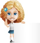 Little Blonde Girl with Curly Hair Cartoon Vector Character AKA Ella Sugarsweet - Sign 7
