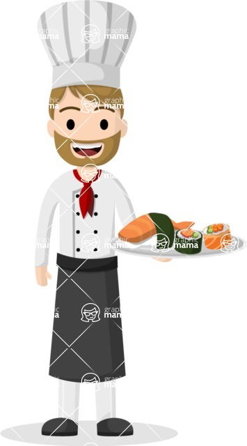 Man in Uniform Vector Cartoon Graphics Maker - Vector Chef holding a plate