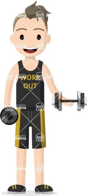 Man in Uniform Vector Cartoon Graphics Maker - Gym enthusiast in sportswear with dumbbells