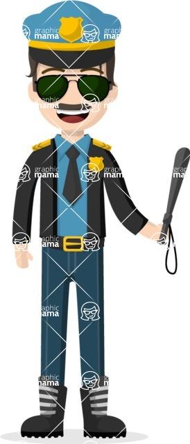 Man in Uniform Vector Cartoon Graphics Maker - Brunette police officer with sunglasses