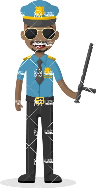 Man in Uniform Vector Cartoon Graphics Maker - Afro-american policeman with a baton and sunglasses
