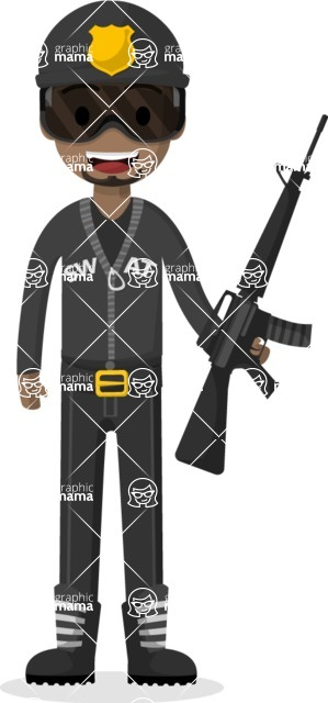 Man in Uniform Vector Cartoon Graphics Maker - Afro-american soldier with weapon