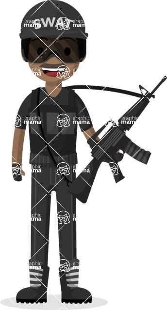 Man in Uniform Vector Cartoon Graphics Maker - SWAT man with weapon