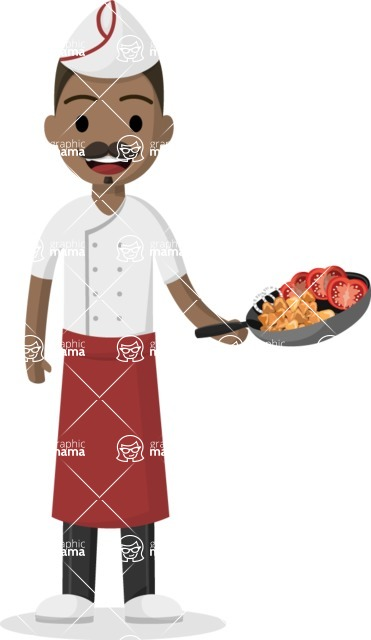Man in Uniform Vector Cartoon Graphics Maker - Аfro-american chef holding a pan
