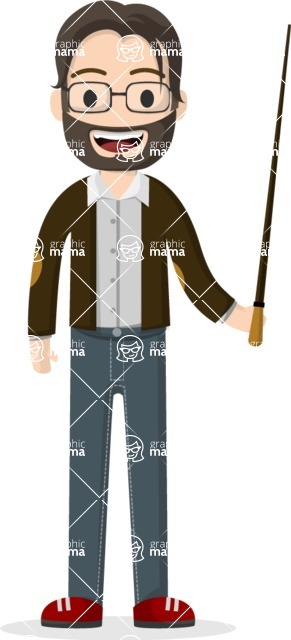 Man in Uniform Vector Cartoon Graphics Maker - Young teacher with glasses and a pointer