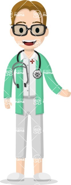 Man in Uniform Vector Cartoon Graphics Maker - Smart vector doctor character with glasses