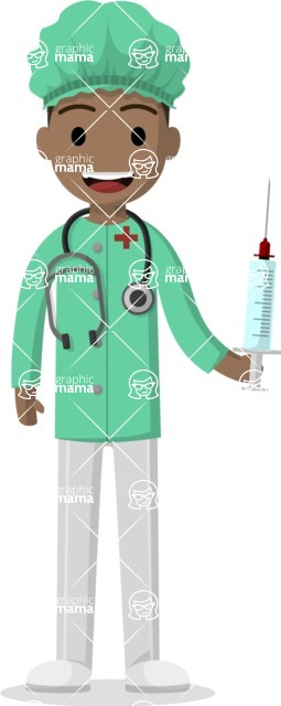 Man in Uniform Vector Cartoon Graphics Maker - Latino vector doctor with a syringe