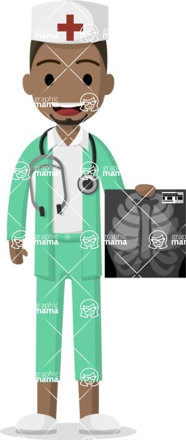 Man in Uniform Vector Cartoon Graphics Maker - Afro-american doctor with an X-ray image