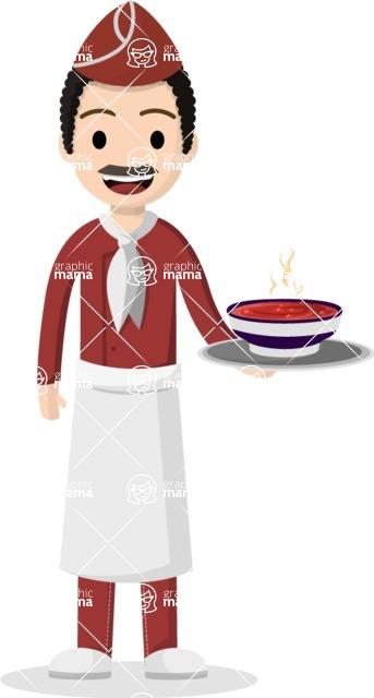 Man in Uniform Vector Cartoon Graphics Maker - Latino chef serving hot soup