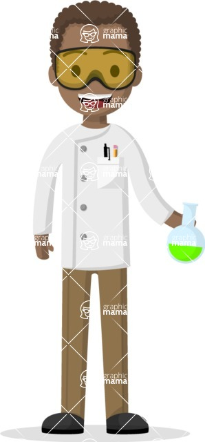 Man in Uniform Vector Cartoon Graphics Maker - Afro-american science guy with a flask