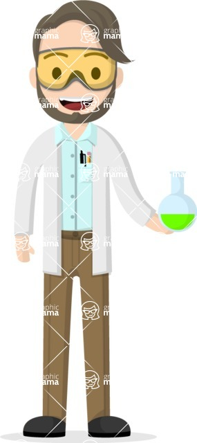 Man in Uniform Vector Cartoon Graphics Maker - Young vector scientist with a bulb