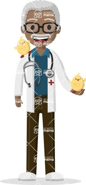 Man in Uniform Vector Cartoon Graphics Maker - Afro-american vet with chickens