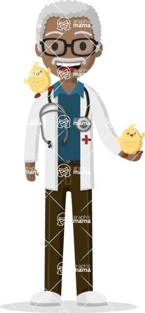Man in Uniform Vector Cartoon Graphics Maker - Afro-american vet with chickens