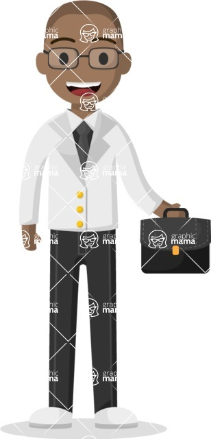 Man in Uniform Vector Cartoon Graphics Maker - Vector doctor with a suitcase
