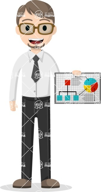 Man in Uniform Vector Cartoon Graphics Maker - Vector business guy holding a chart