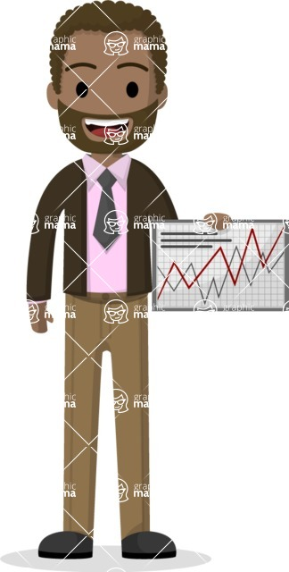 Man in Uniform Vector Cartoon Graphics Maker - Afro-american businessman holding a graph
