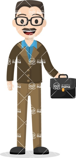 Man in Uniform Vector Cartoon Graphics Maker - Businessman with mustache holding a suitcase