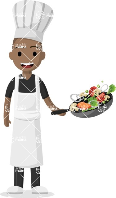 My Career: Guys - Afro-american young chef stirring in pan