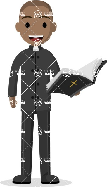 Man in Uniform Vector Cartoon Graphics Maker - Afro-american priest with bible