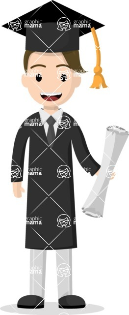 Man in Uniform Vector Cartoon Graphics Maker - Happy graduate with diploma and gown