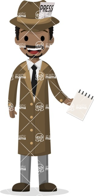 Man in Uniform Vector Cartoon Graphics Maker - Journalist with notepad