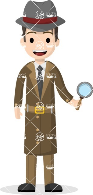 Man in Uniform Vector Cartoon Graphics Maker - Vector detective with magnifying glass