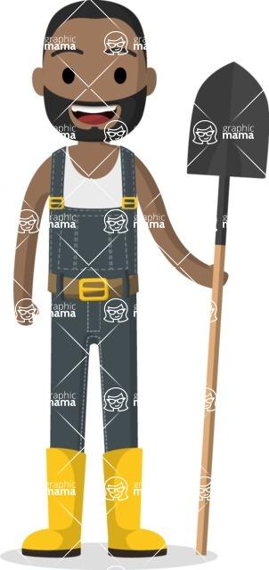 Man in Uniform Vector Cartoon Graphics Maker - Gardener with boots and shovel