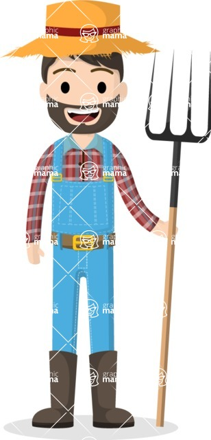 Man in Uniform Vector Cartoon Graphics Maker - Farmer with hat and pitchfork