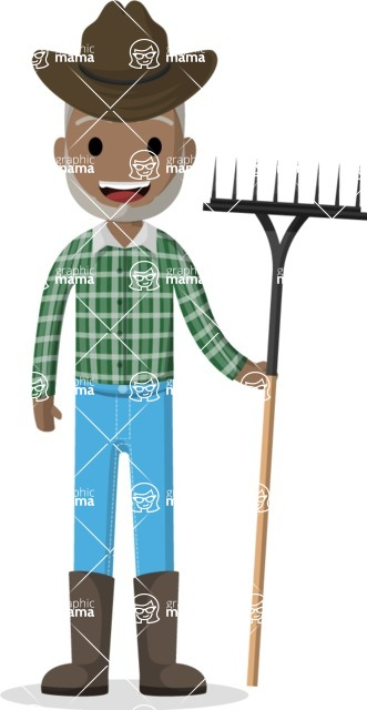 Man in Uniform Vector Cartoon Graphics Maker - Old Afro-american farmer with rake