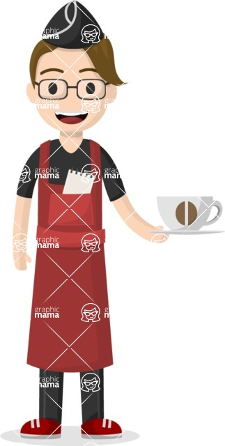 Man in Uniform Vector Cartoon Graphics Maker - Young smiling waiter serving coffee