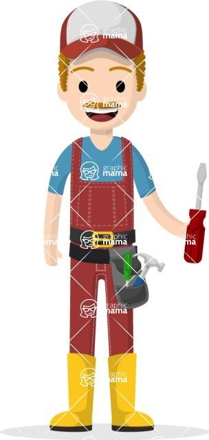 Man in Uniform Vector Cartoon Graphics Maker - Technician with screwdriver