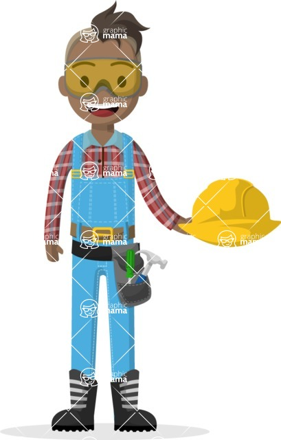 Man in Uniform Vector Cartoon Graphics Maker - Construction worker with protective glasses and helmet