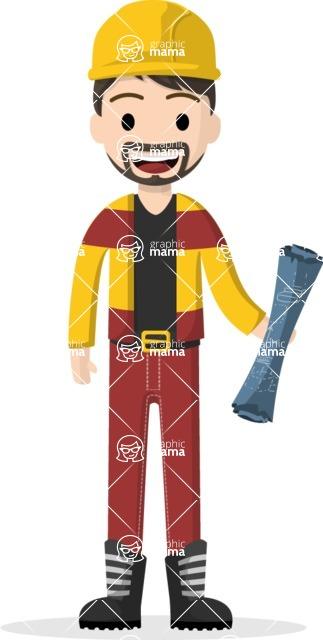 Man in Uniform Vector Cartoon Graphics Maker - Construction worker with draft