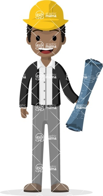 Man in Uniform Vector Cartoon Graphics Maker - Young builder with construction drawings