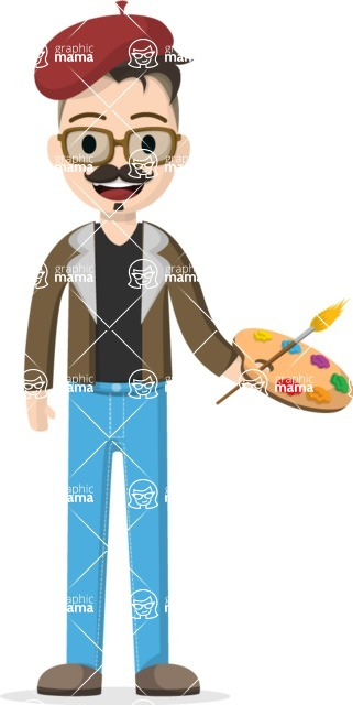 Man in Uniform Vector Cartoon Graphics Maker - Artist with palette and brush