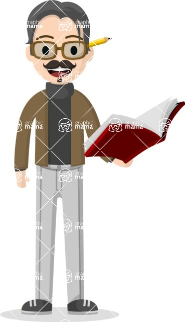 Man in Uniform Vector Cartoon Graphics Maker - Professor with book and pencil