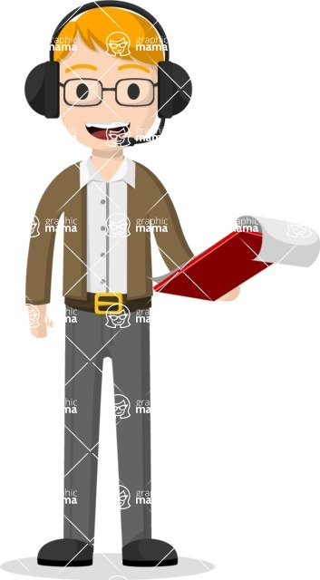 Man in Uniform Vector Cartoon Graphics Maker - Camera man with clipboard