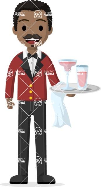Man in Uniform Vector Cartoon Graphics Maker - Afro-american waiter with uniform serving cocktails