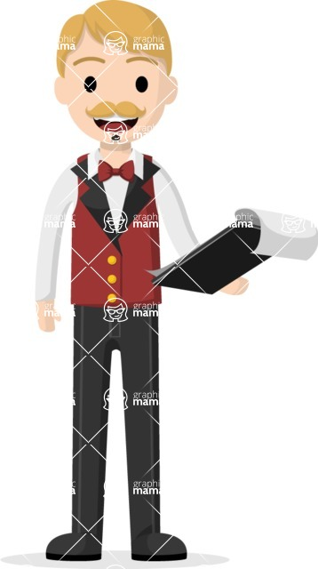 Man in Uniform Vector Cartoon Graphics Maker - Valet parking guy with clipboard