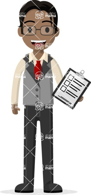 Man in Uniform Vector Cartoon Graphics Maker - Business guy holding a questionnaire