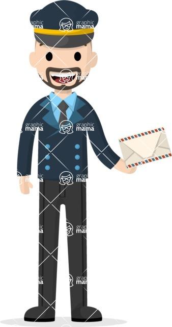 Man in Uniform Vector Cartoon Graphics Maker - Postman with letter