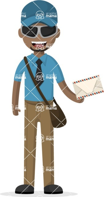 Man in Uniform Vector Cartoon Graphics Maker - Postman with sunglasses delivering mail