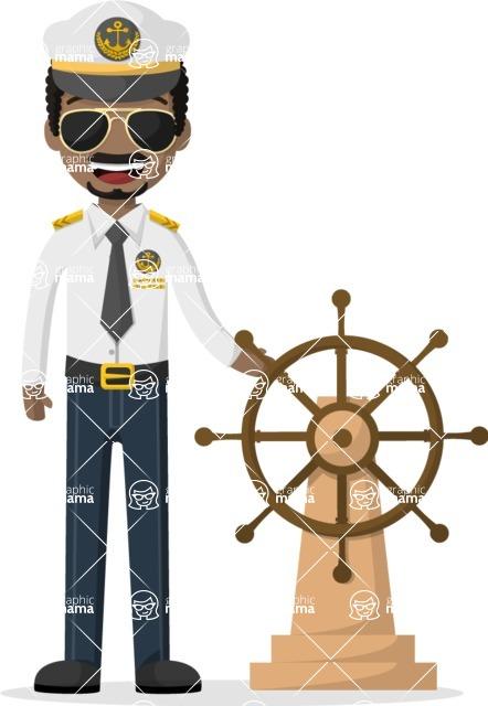 Man in Uniform Vector Cartoon Graphics Maker - Afro-american sea captain