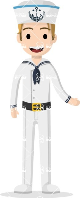 Man in Uniform Vector Cartoon Graphics Maker - Young vector sailor