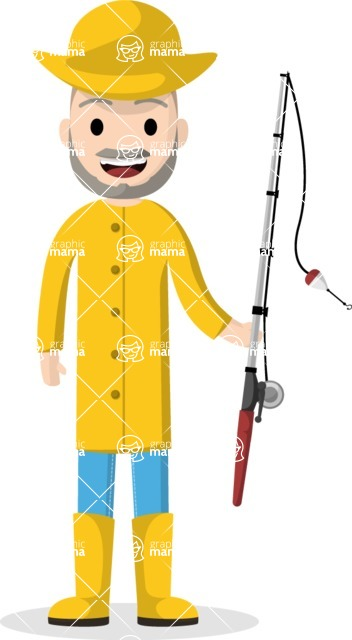 Man in Uniform Vector Cartoon Graphics Maker - Fisherman with coat and hat