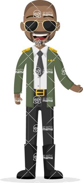 Man in Uniform Vector Cartoon Graphics Maker - Military man with sunglasses