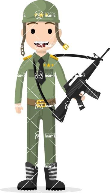 Man in Uniform Vector Cartoon Graphics Maker - Soldier with gun