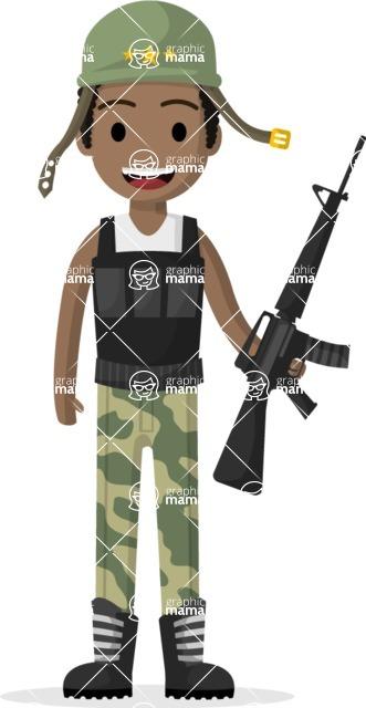 Man in Uniform Vector Cartoon Graphics Maker - Vector soldier with buletproof vest